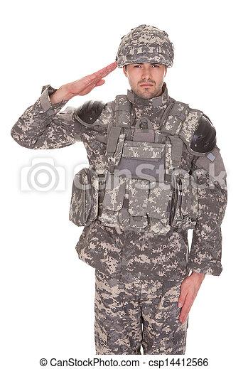 Retrato del hombre con uniforme militar saludando - csp14412566