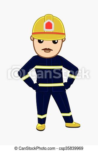 Vector de retratos de bombero de dibujos - csp35839969