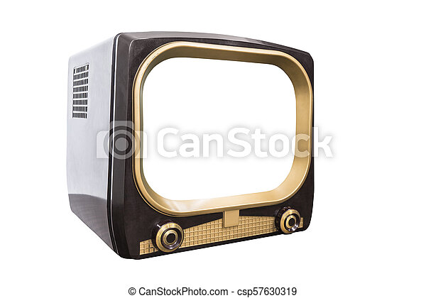 Retro 1950s Television Isolated with Cut Out Screen - csp57630319