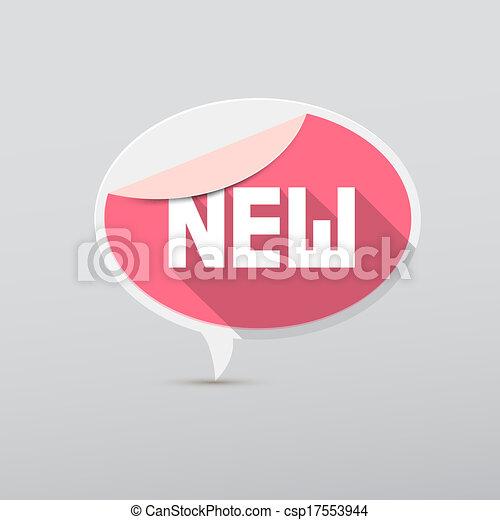 Retro 3d Pink Vector New Tag, Label - csp17553944