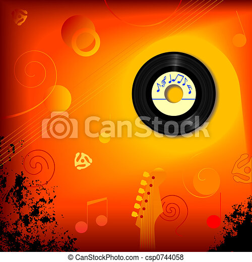 Retro 45 RPM Music Background - csp0744058