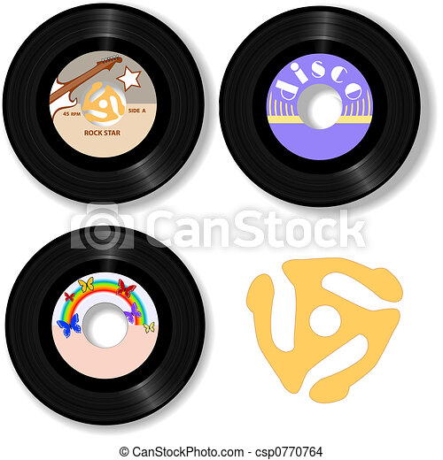 Retro 45 RPM Records & Spindle Adapter - csp0770764