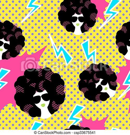 Retro 80s Disco Party Seamless Pattern Retro 80s Disco Party