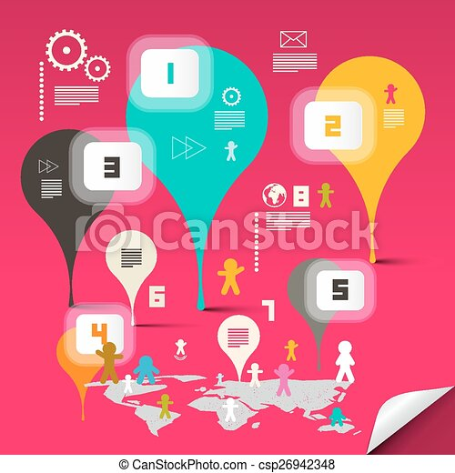 Retro Abstract Vector Infographics Template - Layout with Colorful Bubbles and World Map on Pink Background - csp26942348