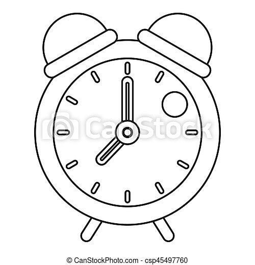 Retro alarm clock icon, outline style - csp45497760