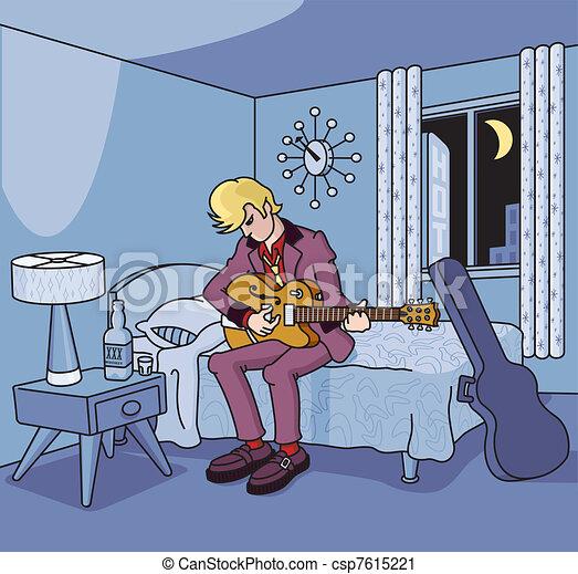 retro, albergo, chitarrista, stanza - csp7615221