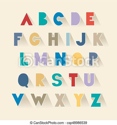 retro alphabet set with shadows. extra bold fat capital letters as cut out paper - csp48986539