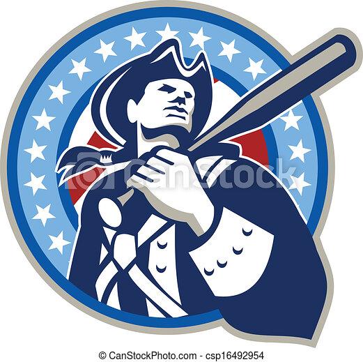 retro, american baseball, üt, patrióta - csp16492954