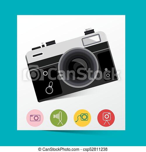 Retro Analog Photo Camera with Photography Icons. Vector. - csp52811238