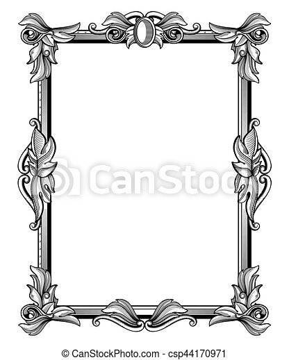border frame victorian.  Victorian Retro Antique Baroque Border Frame With Scroll Ornaments Vector  Illustration Inside Victorian P