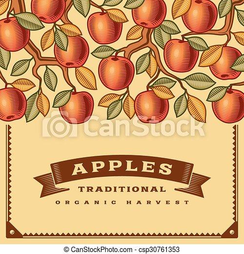 Retro apple harvest card - csp30761353