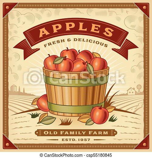 Retro apple harvest label with landscape - csp55180845