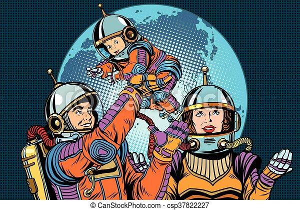 Retro astronauts family dad mom and child - csp37822227