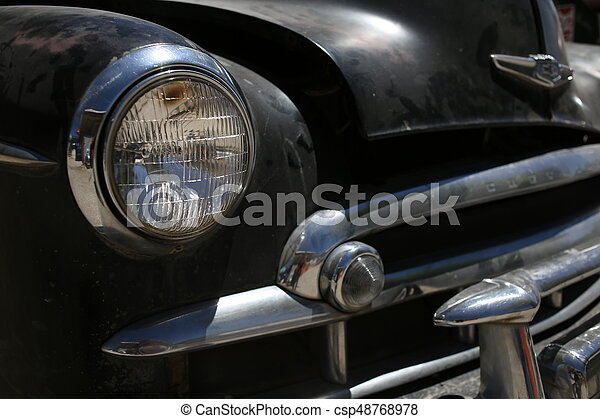 Retro automobile headlight. Close up - csp48768978