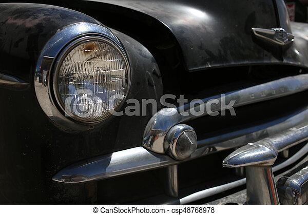 Retro automobile headlight. Close up - csp48768978