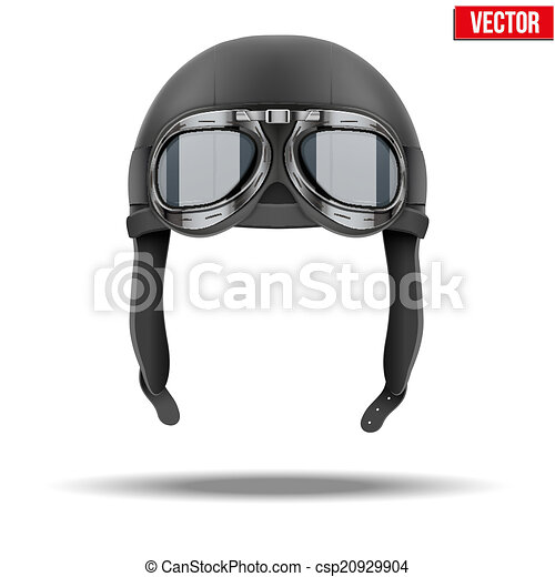 Retro aviator pilot helmet with goggles. Isolated on white - csp20929904