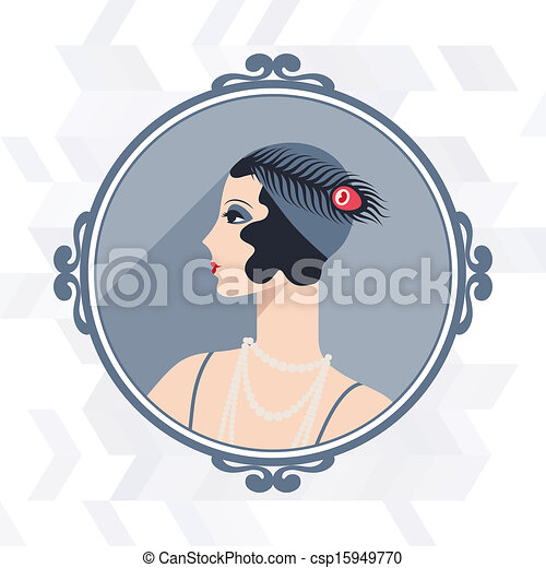 Retro background with beautiful girl of 1920s style. - csp15949770