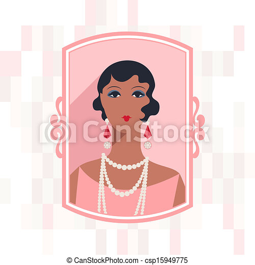 Retro background with beautiful girl of 1920s style. - csp15949775