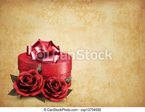 Retro background with beautiful red roses and gift box. Vector illustration. - csp13704592