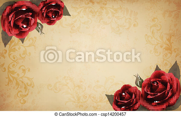 Retro background with beautiful red rose and old paper. Vector illustration - csp14200457