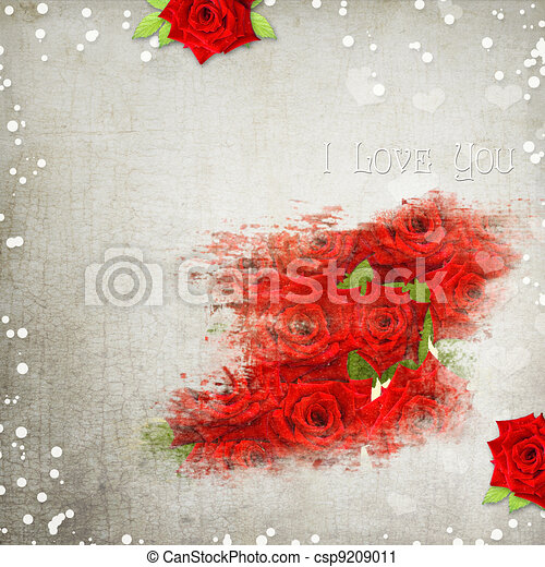 retro background with hearts, text I love you, red roses - csp9209011
