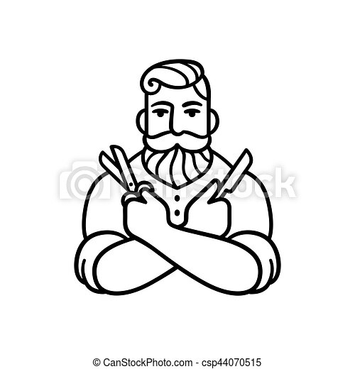 Retro Barber Illustration Style Man With Comb