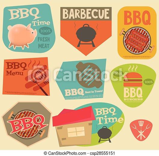 Retro BBQ stickers collection - csp28555151