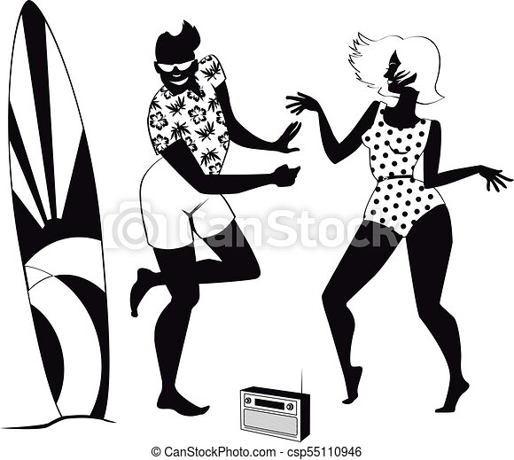 Retro beach party clip-art. Young couple dressed in 1960s ...