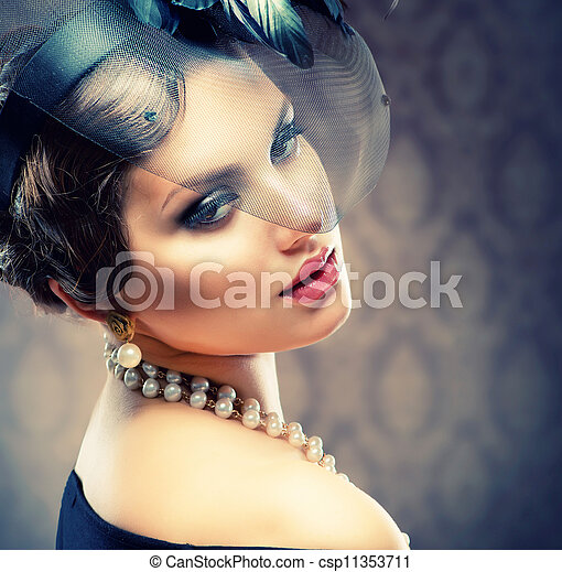 Retro Beauty Portrait. Vintage Styled. Beautiful Young Woman - csp11353711