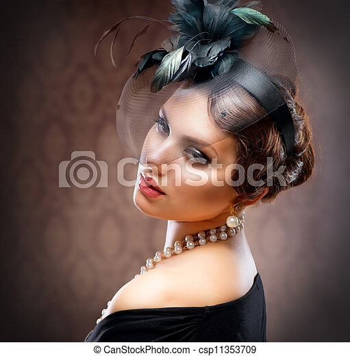 Retro Beauty Portrait. Vintage Styled. Beautiful Young Woman  - csp11353709