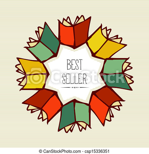Retro best seller book flower. - csp15336351