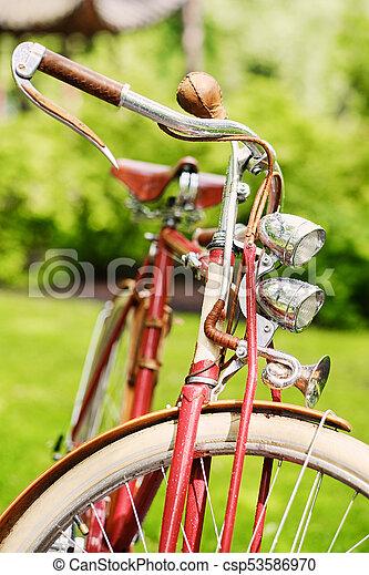 Retro bicycle in a park. - csp53586970