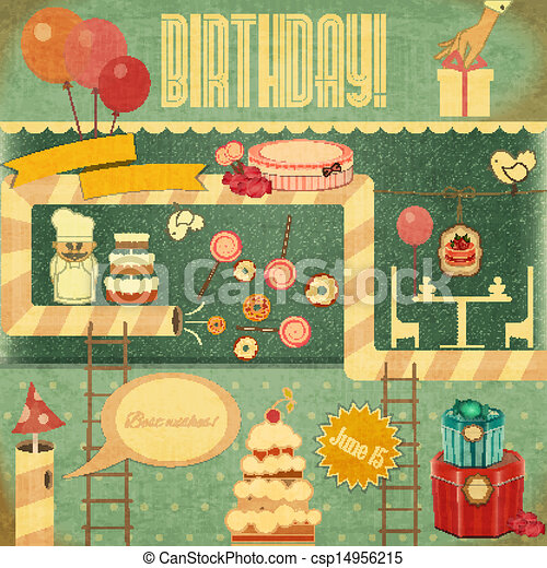 Retro Birthday Card Set Of Objects In Vintage Style Vector Illustration