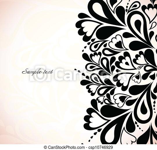 Retro black floral design. Vector illustration - csp10746929