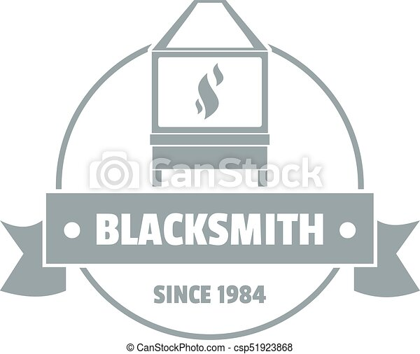 Retro blacksmith logo, simple gray style - csp51923868