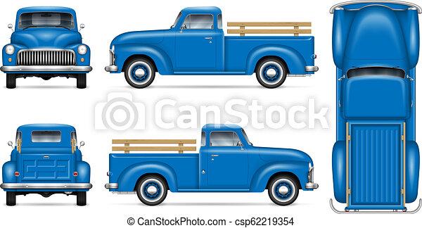 Retro blue pickup vector illustration - csp62219354