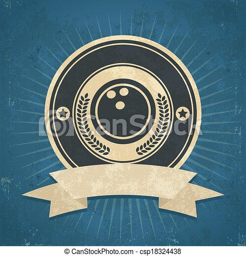 Retro Bowling Ball Emblem - csp18324438