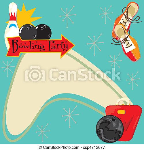 Retro Bowling Party Invitation - csp4712677