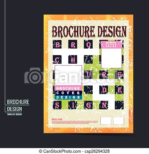Retro Brochure Template Design With Geometric Background Vector