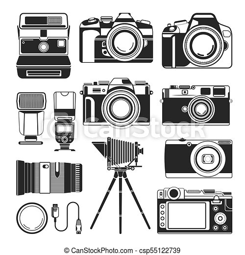 online store 89c68 698e3 Retro camera and old or modern photography equipment vector, silhouette  icons - csp55122739