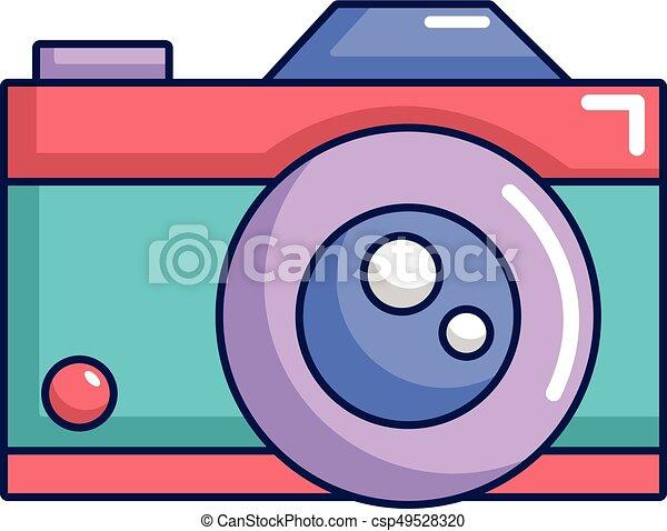 Retro Camera Icon Cartoon Style