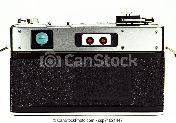 Retro camera with film for photography. Photographer love to take photo with old camera and film with feeling classic. The film camera not popular in present because digital camera instead. - csp71021447