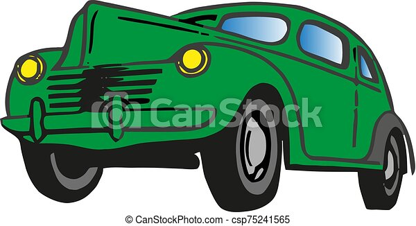 Retro car. Green color. Front view. The silhouette of the car. Perfect for execution sites and interfaces programs in retro style or hipsters. - csp75241565