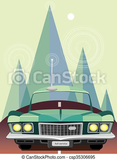 Retro car in mountains - csp35306695