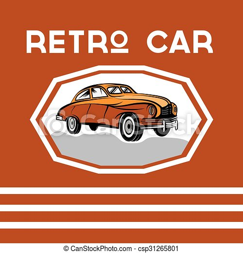 retro car old vintage poster - csp31265801