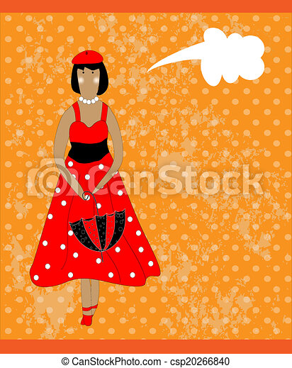 Retro card with girl in red - csp20266840