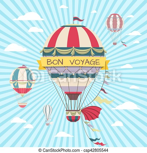 Retro card with hot air balloon. Vintage bon voyage poster - csp42805544