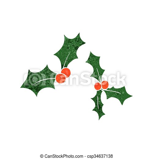 Christmas Holly Cartoon.Retro Cartoon Christmas Holly