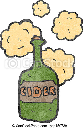 retro cartoon cider bottle - csp15073911