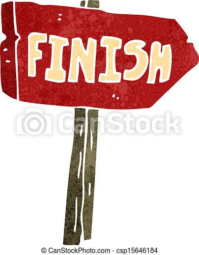 retro cartoon finish sign - csp15646184